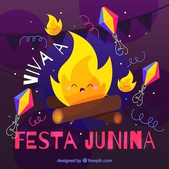 Background of nice campfire of festa junina