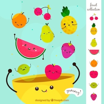 Background of nice fruits in a bowl