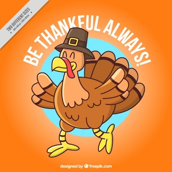 Background of nice hand drawn thanksgiving turkey