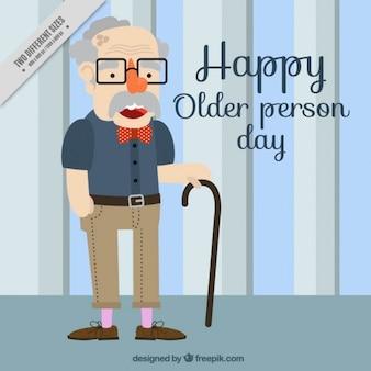 지팡이와 배경 좋은 노인