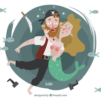 Sfondo del bel pirata in amore abbracciando una sirena