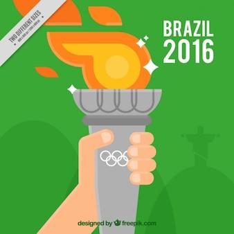 올림픽 성화와 함께 사람의 배경