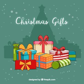 Фон куча рождественских подарков