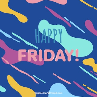 Background of abstract shapes of happy friday colors