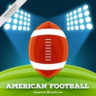 Фон американского футбольного стадиона с мячом