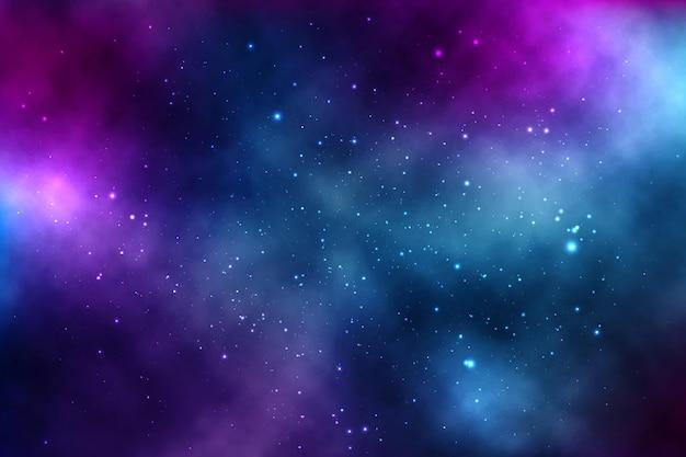 Фон бесконечного пространства со звездами, галактиками, туманностями. яркие масляные пятна и кляксы с белыми точками