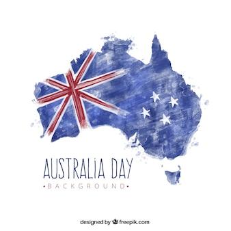 수채화 스타일에서 플래그와 함께 호주지도의 배경