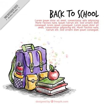 手描きの教科書とバックパックの背景