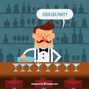 Фон бармен, подающий коктейли