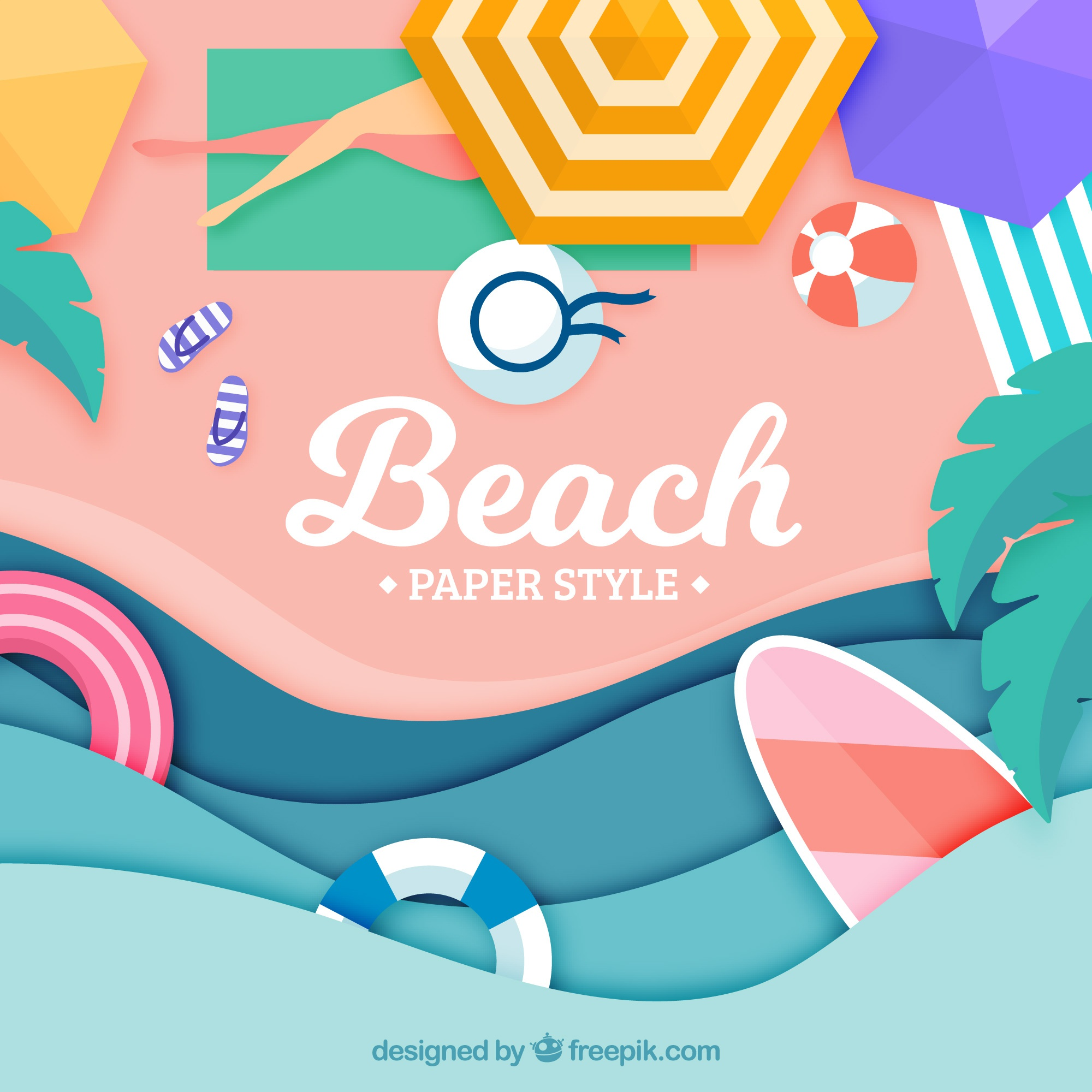 Background of beach from the top in paper style