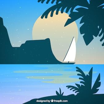 太陽とボートで美しいビーチの風景の背景