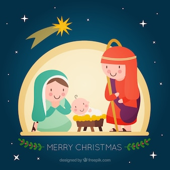 Background of beautiful characters of the nativity scene