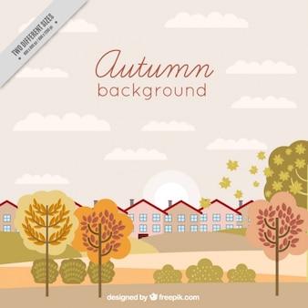 秋の風景の美しい都市の背景
