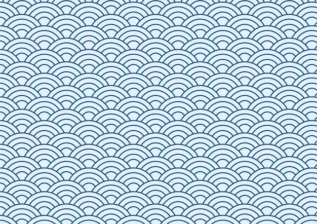 青い日本の波パターンの背景