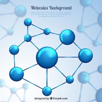 Фон голубой молекулярной структуры