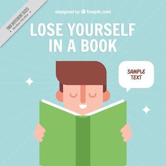 フラットデザインの緑の本を読んで少年の背景