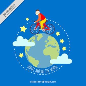 전 세계 자전거와 소년의 배경