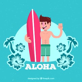 서핑 보드와 소년의 배경