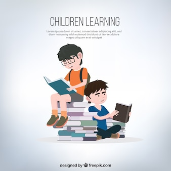 Background of boys reading books