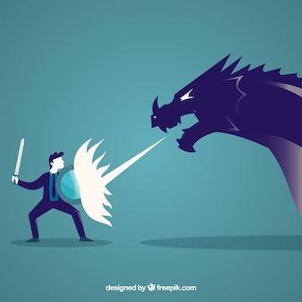 Фон деловой характер, сражающийся с драконом
