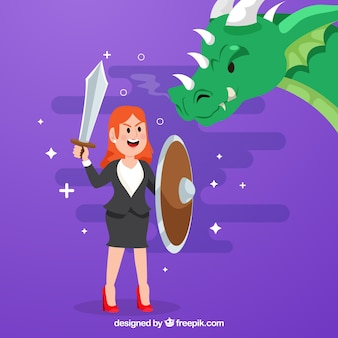 Background of business character fighting with dragon