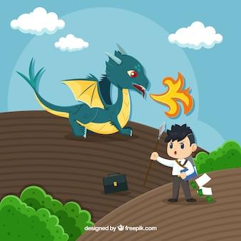 용과 싸우는 비즈니스 캐릭터의 배경