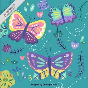 Фон из бабочек и природных деталей
