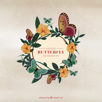蝶花の花輪の背景