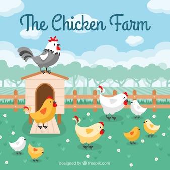 마당에 닭의 배경 무료 벡터