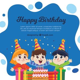誕生日を祝う子供たちの背景
