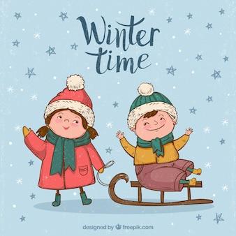 Фон детей, наслаждаясь зимой