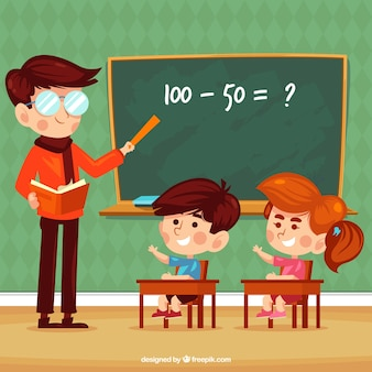 Background of children learning in class with teacher