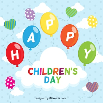 風船を持つ子供の日のお祝いの背景