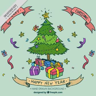 ツリーと手描きのギフトボックスとクリスマスと幸せな新年の背景