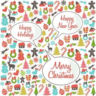 Рождественские шаблон с речи пузыри