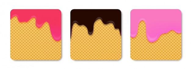 Предпосылка шоколада какао розового и красного мороженого с вафлей.