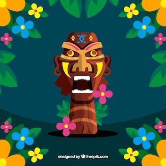 Фон из ярких цветов и деревянной маски тики