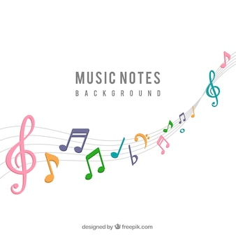 Background of colorful musical notes