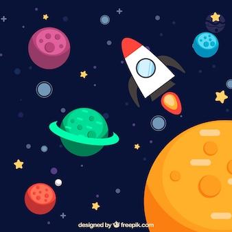 Фон красочных планет с ракетой
