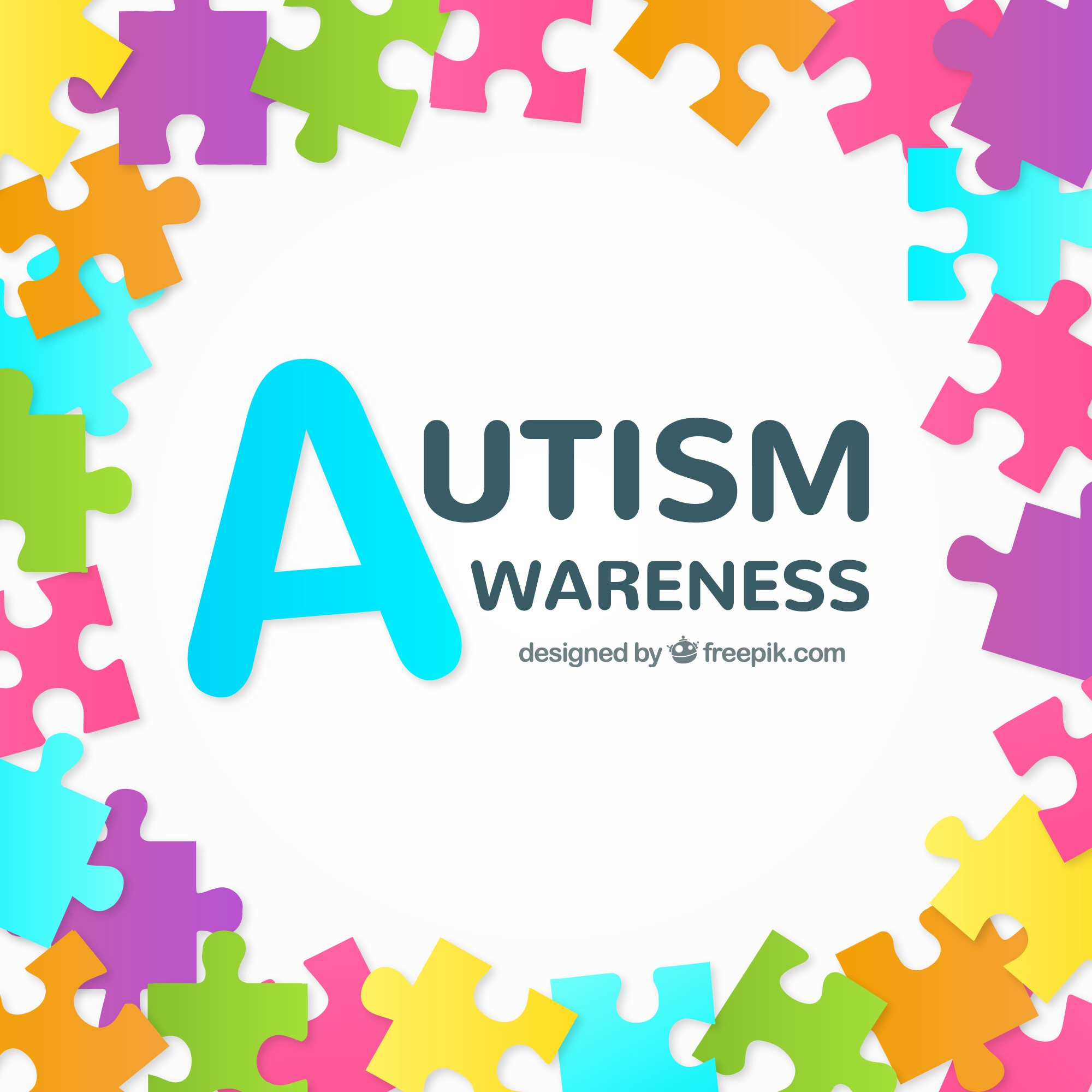 Background of colorful puzzle pieces of autism day