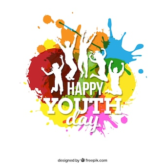 Youth vectors photos and psd files free download background of colorful spots with silhouettes of people stopboris Image collections