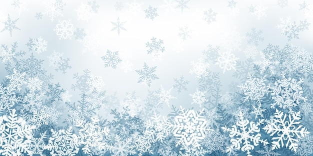 회색 색상의 복잡한 크리스마스 눈송이의 배경. 떨어지는 눈과 겨울 그림