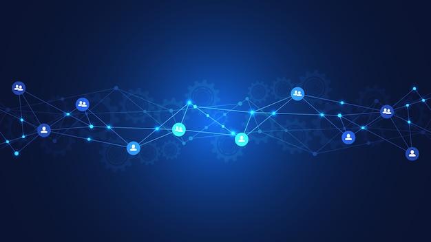 Фон подключения людей и концепции связи, социальной сети.