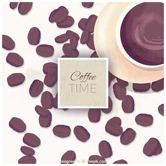 컵과 수채화 커피 콩의 배경