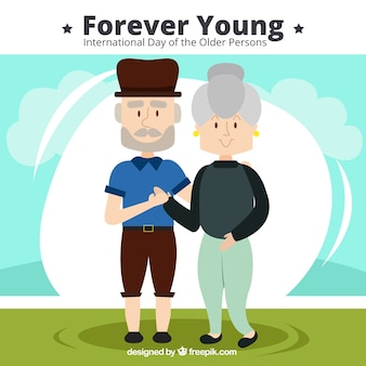 귀여운 노인 커플의 배경