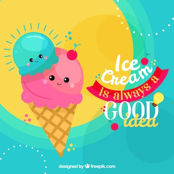 Background of cute ice-cream with phrase