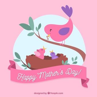 Фон милых маленьких птиц на день матери