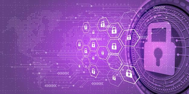 Фон кибербезопасности и защиты сети.