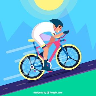 フラットデザインのランドスケープのサイクリストの背景