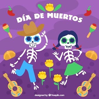 Фон дня мертвых с танцами скелетов